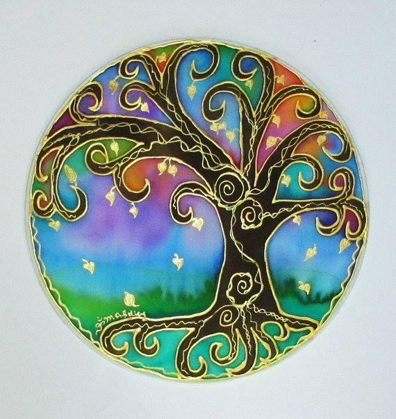 Art sur soie: arbre de lumière de Mary Ann Holey (Etsy).